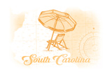 South Carolina - Beach Chair and Umbrella - Yellow - Coastal Icon Art by  Lantern Press