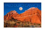 Amarillo, Texas - Palo Duro Canyon - Moon and Red Rock Posters by  Lantern Press