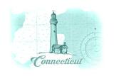 Connecticut - Lighthouse - Teal - Coastal Icon Prints by  Lantern Press