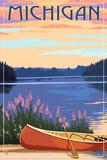 Michigan - Canoe and Lake Poster by  Lantern Press