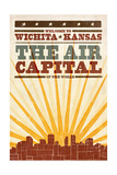 Wichita, Kansas- Skyline and Sunburst Screenprint Style Prints by  Lantern Press