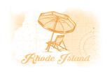 Rhode Island - Beach Chair and Umbrella - Yellow - Coastal Icon Posters by  Lantern Press