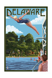 Delaware - Woman Diving and Lake Print by  Lantern Press