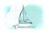 Connecticut - Sailboat - Teal - Coastal Icon Prints by  Lantern Press