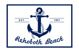 Rehoboth Beach, Delaware - Blue and White Anchor Prints by  Lantern Press