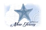 Wildwood, New Jersey - Starfish - Blue - Coastal Icon Art by  Lantern Press