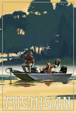 Michigan - Fishermen in Boat Posters by  Lantern Press