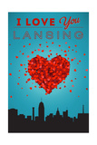 I Love You Lansing, Michigan Poster by  Lantern Press