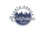 Santa Monica, California - Skyline Seal (Blue) Posters by  Lantern Press