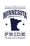 Minnesota State Pride - Blue on White Posters by  Lantern Press
