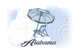 Alabama - Beach Chair and Umbrella - Blue - Coastal Icon Print by  Lantern Press