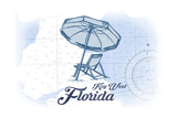 Key West, Florida - Beach Chair and Umbrella - Blue - Coastal Icon Posters by  Lantern Press