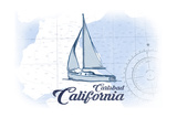 Carlsbad, California - Sailboat - Blue - Coastal Icon Posters by  Lantern Press