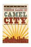 Winston-Salem, North Carolina - Skyline and Sunburst Screenprint Style Art by  Lantern Press
