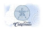 Cambria, California - Sand Dollar - Blue - Coastal Icon Prints by  Lantern Press