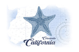 Coronado, California - Starfish - Blue - Coastal Icon Prints by  Lantern Press