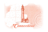 Connecticut - Lighthouse - Coral - Coastal Icon Poster by  Lantern Press