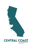 Central Coast, California - State Outline and Heart (Dark Blue) Prints by  Lantern Press