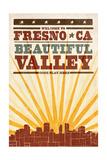Fresno, California - Skyline and Sunburst Screenprint Style Art by  Lantern Press