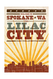 Spokane, Washington - Skyline and Sunburst Screenprint Style Poster by  Lantern Press