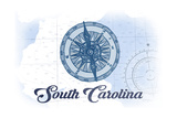 South Carolina - Compass - Blue - Coastal Icon Posters by  Lantern Press