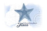 South Padre Island, Texas - Starfish - Blue - Coastal Icon Prints by  Lantern Press