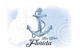 Key West, Florida - Anchor - Blue - Coastal Icon Prints by  Lantern Press