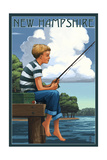 New Hampshire - Boy Fishing Prints by  Lantern Press