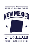 New Mexico State Pride - Blue on White Posters by  Lantern Press