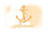 Alabama - Anchor - Yellow - Coastal Icon Prints by  Lantern Press