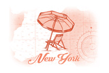 New York - Beach Chair and Umbrella - Coral - Coastal Icon Posters by  Lantern Press
