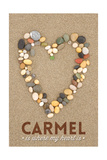 Carmel Is Where My Heart Is - California - Stone Heart on Sand Prints by  Lantern Press