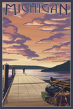 Michigan - Dock Scene and Lake Prints by  Lantern Press