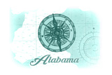 Alabama - Compass - Teal - Coastal Icon Posters by  Lantern Press