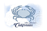 San Francisco, California - Crab - Blue - Coastal Icon Posters by  Lantern Press