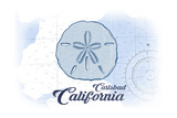 Carlsbad, California - Sand Dollar - Blue - Coastal Icon Prints by  Lantern Press