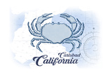 Carlsbad, California - Crab - Blue - Coastal Icon Print by  Lantern Press
