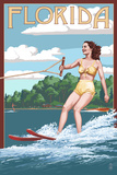 Florida - Water Skier and Lake Print by  Lantern Press