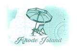 Rhode Island - Beach Chair and Umbrella - Teal - Coastal Icon Art by  Lantern Press