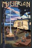 Michigan - Retro Camper and Lake Print by  Lantern Press