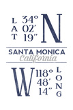 Santa Monica, California - Latitude and Longitude (Blue) Print by  Lantern Press