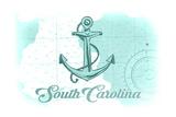 South Carolina - Anchor - Teal - Coastal Icon Print by  Lantern Press