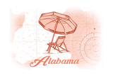 Alabama - Beach Chair and Umbrella - Coral - Coastal Icon Prints by  Lantern Press