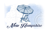 New Hampshire - Beach Chair and Umbrella - Blue - Coastal Icon Art by  Lantern Press