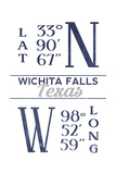 Wichita Falls, Texas - Latitude and Longitude (Blue) Art by  Lantern Press
