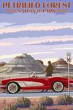 Petrified Forest National Park, Arizona - Route 66 - Corvette Posters by  Lantern Press