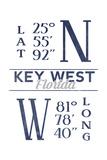 Key West, Florida - Latitude and Longitude (Blue) Prints by  Lantern Press