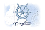 Carlsbad, California - Ship Wheel - Blue - Coastal Icon Posters by  Lantern Press