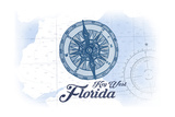 Key West, Florida - Compass - Blue - Coastal Icon Art by  Lantern Press