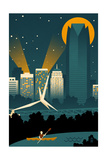 Oklahoma City, Oklahoma - Retro Skyline (no text) Prints by  Lantern Press